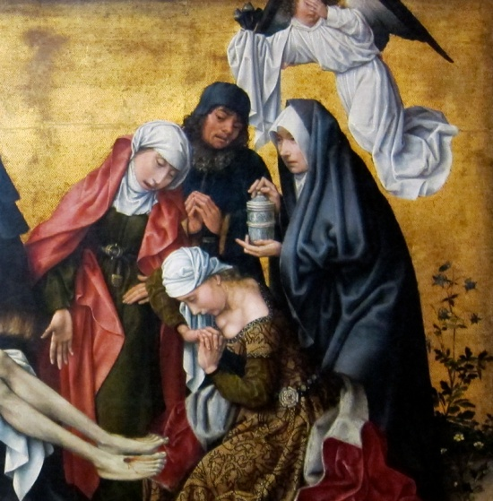 "Detail, ""The Deposition,"" by a follower of Rogier van der Weyden (circa 1490), The Getty Center, Los Angeles. Photograph by Susan Barsy."