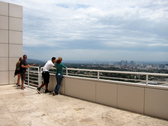 People looking out from the Getty, © 2014 Susan Barsy