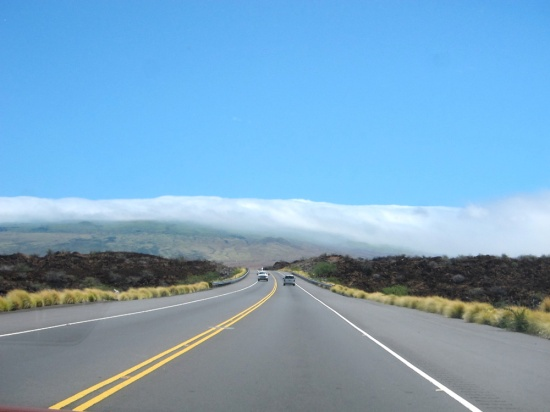 Initially the road lies through arid volcanic terrain.