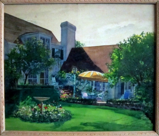 "Frederick Boulton's watercolor ""Summertime 1944) shows the back yard of a home on Chicago's north shore."