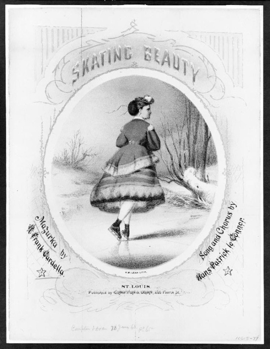 Rear view of a female ice-skater wearing a short skirt in antebellum times