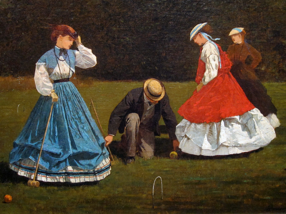 Female players are wearing drawn-up skirts, one with a balmoral skirt beneath.