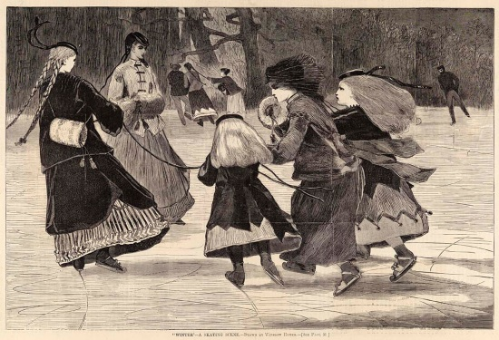 A circle of girls and young women on the ice.