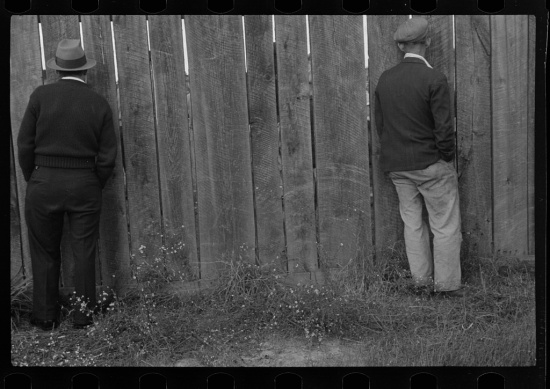 "Ben Shahn, ""Watching a football game, Star City, West Virginia"" (Courtesy of the Library of Congress)"