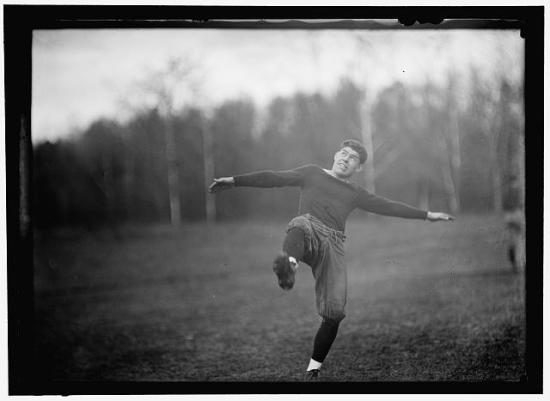 Costello kicking (Courtesy of the Library of Congress)