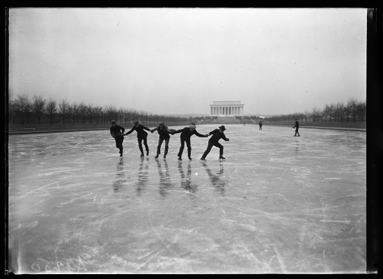 Ice skating; The Lincoln Memorial in the background, Washington, DC (Courtesy of the Library of Congress).
