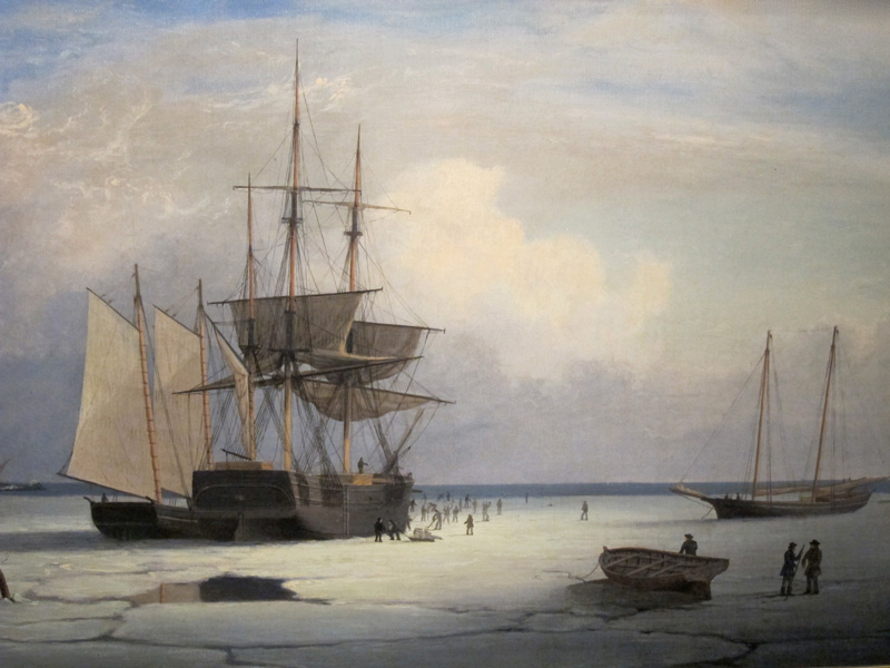 Painting of sailing ships stuck in ice and people on the frozen surface.
