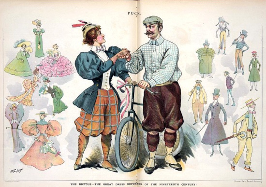 A couple dressed in cycling clothes congratulates themselves for leaving the cumbersome fashions of the nineteenth century behind.