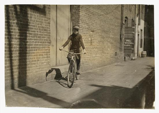 """Manley Creasson, 914 W. 6 St. Messenger #6, Mackay Telegraph Co. Says he is 14; school records say 13. Says he has steady job-- """"Been a messenger for years. Get $15 for 2 weeks' pay."""" Location: Oklahoma City, Oklahoma."""