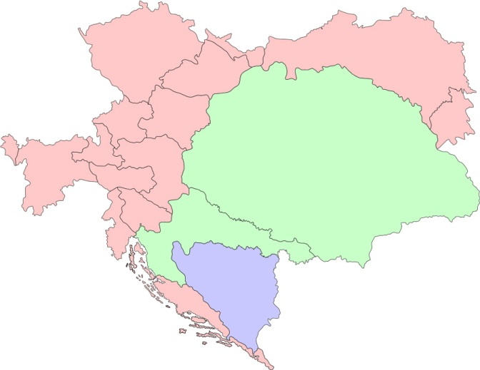 "The pink area is ""Austria,"" the green is ""Hungary"""