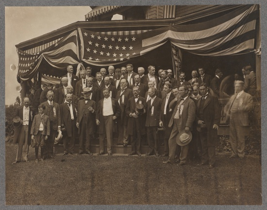 Party leaders calling on Theodore Roosevelt at home following his nomination for president.