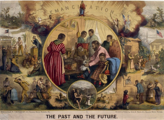 "Thomas Nast, ""Emancipation: The Past and the Future,"" colored wood engraving, 1865 (Library Company of Philadelphia)."