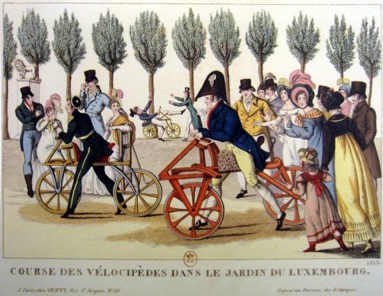 Velocipedes in Luxembourg Garden (Paris), 1818