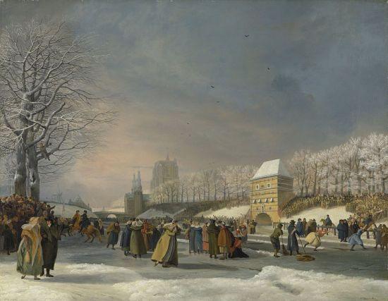 Women racing on ice skates in 1809.