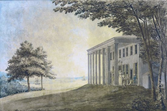 "Benjamin Latrobe, ""Mount Vernon with the Washington family on the terrace"" (Courtesy of Wikipedia)"