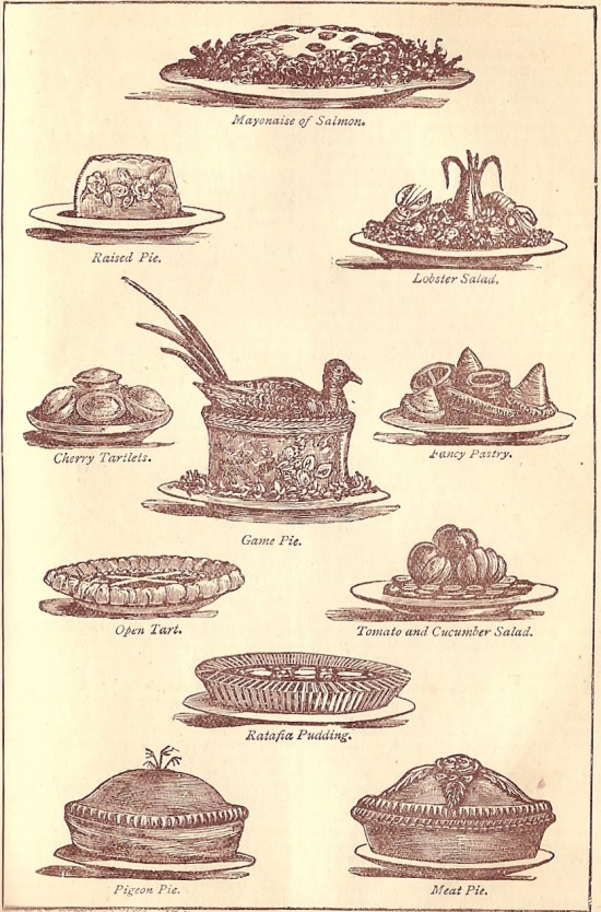 Raised pies (Illustration from Mrs Beeton's)