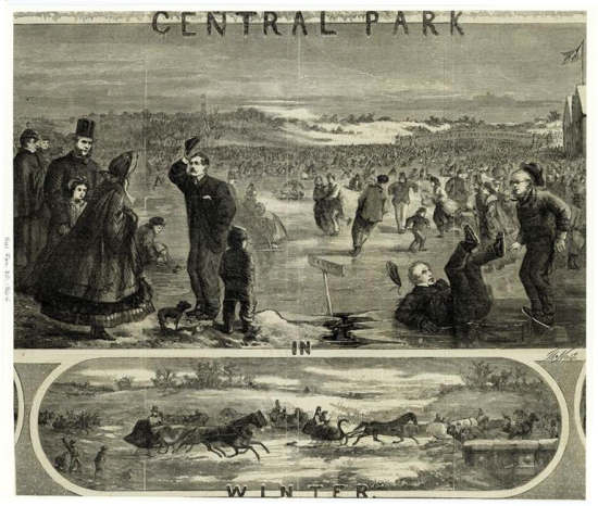 Two scenes, showing skating and sleighing in Central Park. The top panel includes drawings of James Gordon Bennett Sr and Horace Greeley