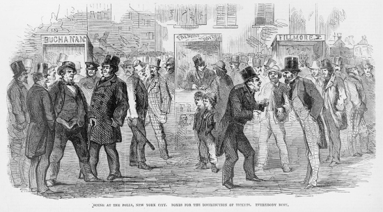 Artist's sketch shows men talking excitedly at an open-air polling place in NYC.