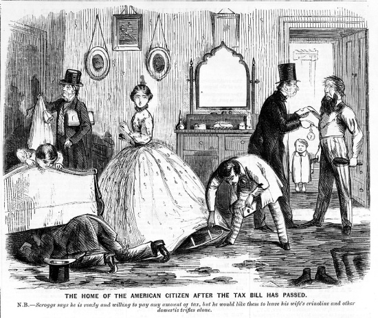 cartoon shows tax inspectors looking under a woman's crinoline and under a bed in her home.
