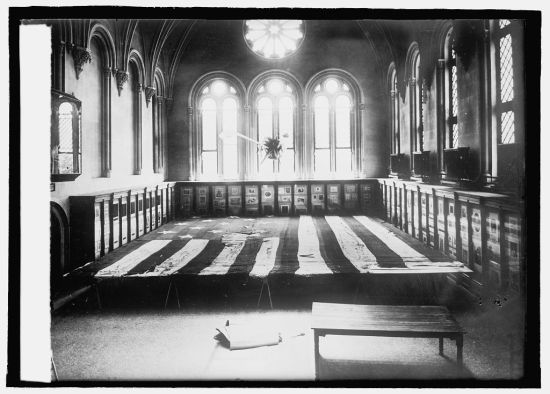 Preparing to mend Fort McHenry flag, Courtesy Library of Congress