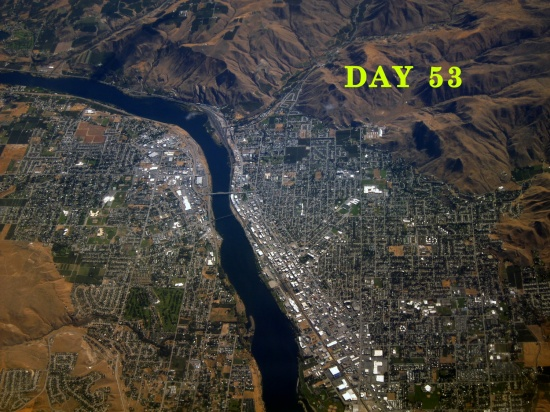 Day 53 (aerial of riverside town), © 2016 Susan Barsy