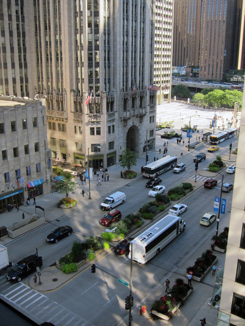 Looking down toward Tribune Tower, © 2016 Susan Barsy