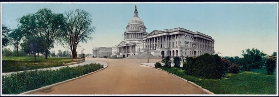A color panoramic view of the US Capitol taken from the driveway circa 1898.