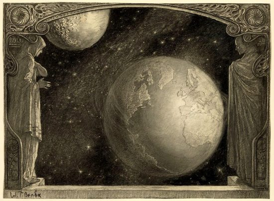 Two cosmic figures regard the Earth, framed in a proscenium arch.