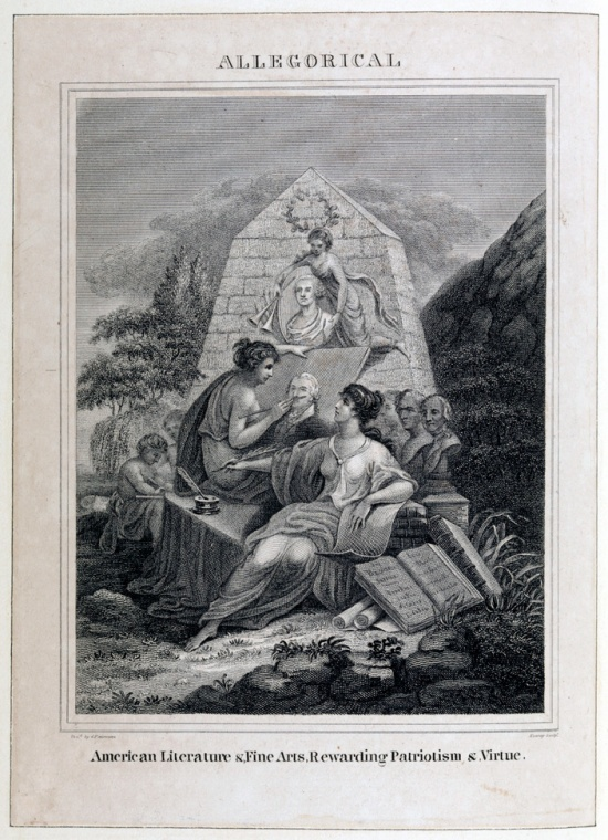 Allegorical engraving showing the arts memorializing George Washington