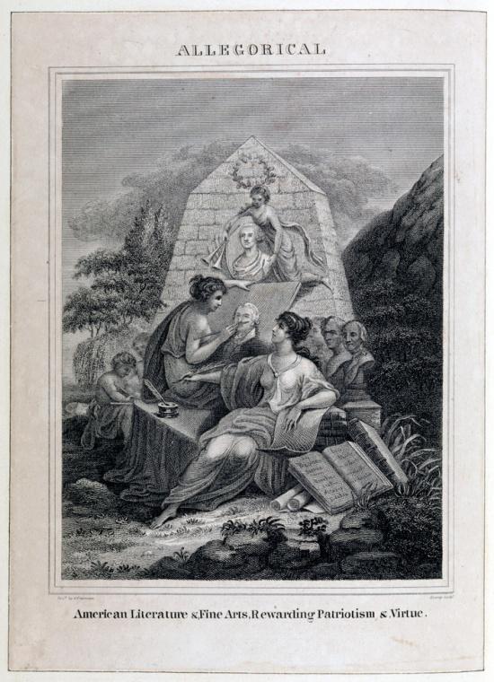 Allegorical engraving showing the arts memorializing George Washington