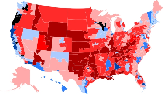 US map showing partisan voting inclinations by county.