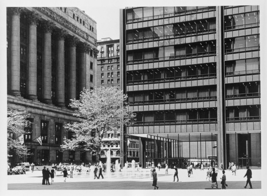 Black and white photo of City Hall and the Daley Plaza.