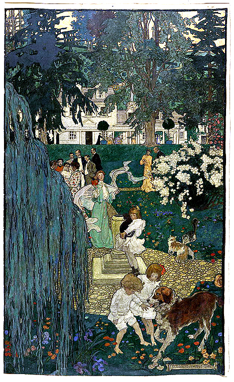 1904 illustration of friends, children, and animals in the gardens around a country house.