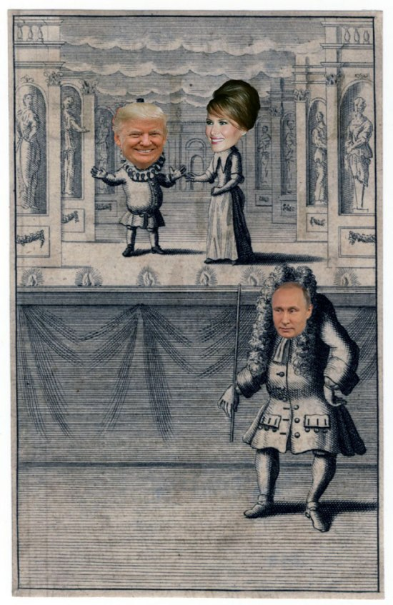 Period drawing of puppet-master (putin) and his puppet characters (the Trumps)